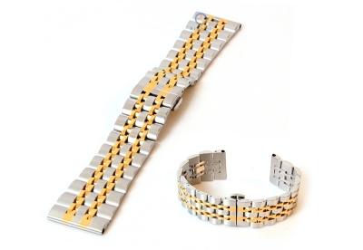 Uhrenarmband 22mm Edelstahl Silber-Gold