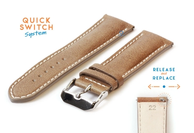Uhrenarmband 22mm glanzend braun Leder