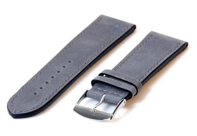 Uhrenarmband 24mm mattgrau Kalbsleder
