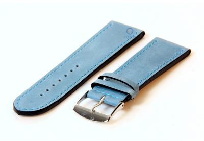 Uhrenarmband 24mm eisblau Kalbsleder