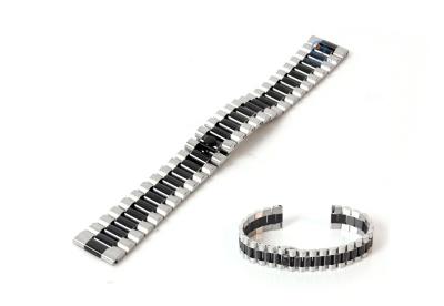 Uhrenarmband 18mm Stahl schwarz/silber