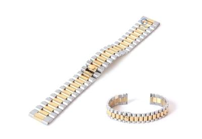 Uhrenarmband 18mm Stahl gold/silber