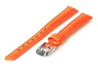Uhrenarmband 12mm orange Leder mit Krokostruktur