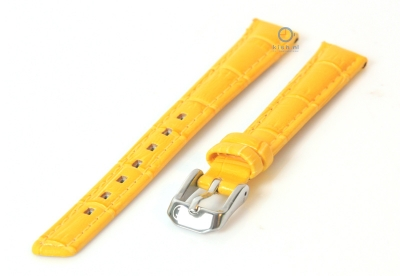 Uhrenarmband 14mm gelb Leder mit Krokostruktur