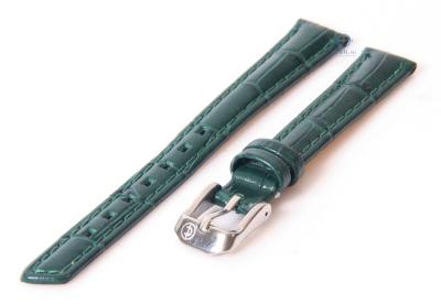 Uhrenarmband 14mm dunkelgün Leder mit Krokostruktur