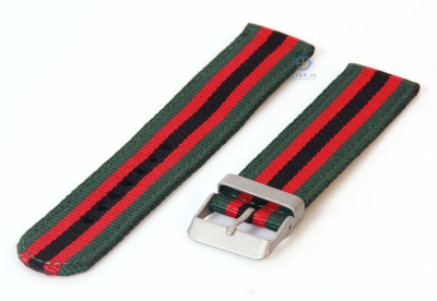 Uhrenarmband 22mm grün/rot/schwarz Nylon