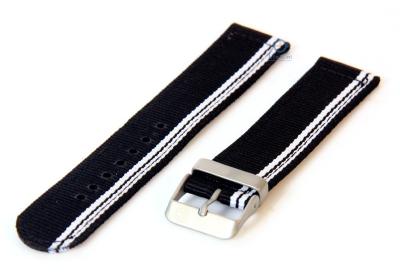 Uhrenarmband aus Nylon 22mm schwarz-weiße