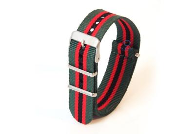Uhrenarmband aus Nylon 22mm nylon grün-rot-schwarz