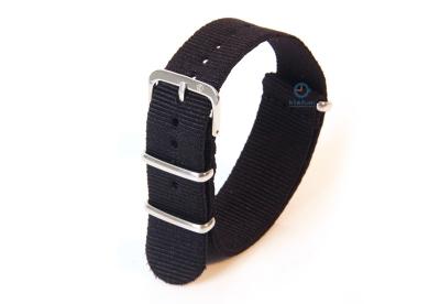 Uhrenarmband aus Nylon 18mm schwarz