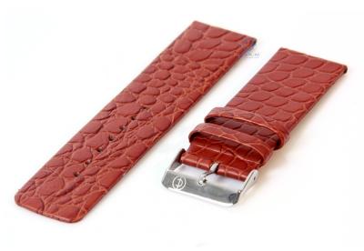 Uhrenarmband 26mm hellbraun Leder mit Kroko-Druck