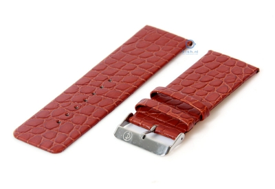 Uhrenarmband 28mm hellbraun Leder mit Kroko-Druck