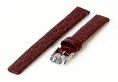 Uhrenarmband 10mm dunkelbraun Leder mit Kroko-Druck
