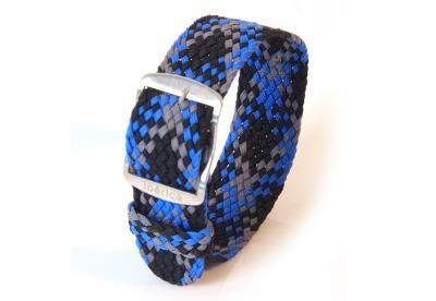 Perlon Uhrenarmband 22mm blau-grau-schwarz
