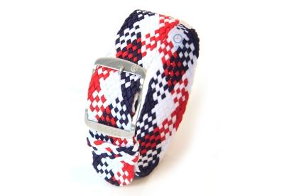 Perlon Uhrenarmband 22mm weiß-blau-rot