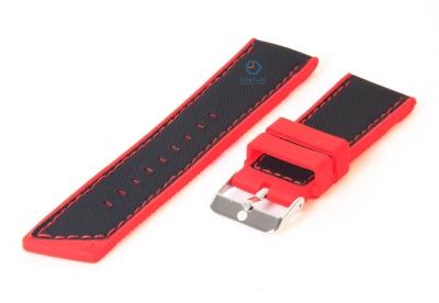 Uhrenarmband aus Silikon 24mm schwarz-rot
