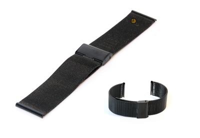 Uhrenarmband aus Stahl (Mailänder) 20mm schwarz