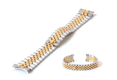 Rolex style Uhrenarmband 20mm Edelstahl silber/gold