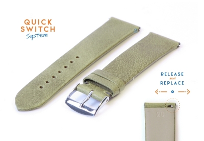 Uhrenarmband 20mm dunkelgrün Leder