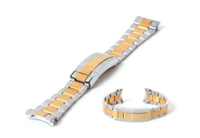 Rolex Stil Uhrenarmband 21mm Stahl silber/ gold