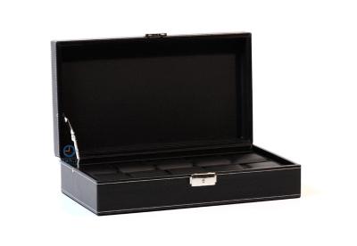 Schwarze Leder Uhrenbox für 10 Uhren