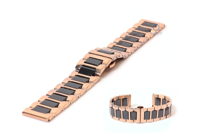 Uhrenarmband 20mm Gold-Rosa/schwarz Stahl