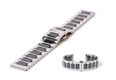 Uhrenarmband 22mm silber/schwarz Stahl