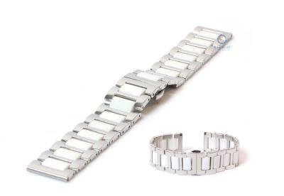 Uhrenarmband 22mm silber/weiß Stahl