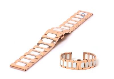 Uhrenarmband 22mm Gold-Rosa/weiß Stahl
