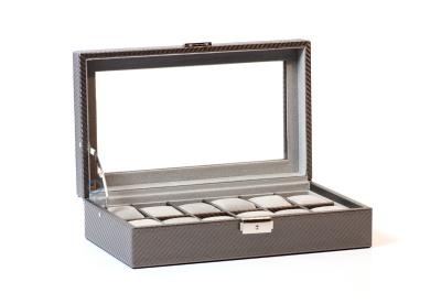 Uhrenbox für 12 Uhren (grau karbon)