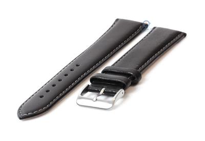 Extra lange Uhrenarmband 24mm schwarz Leder - XXL