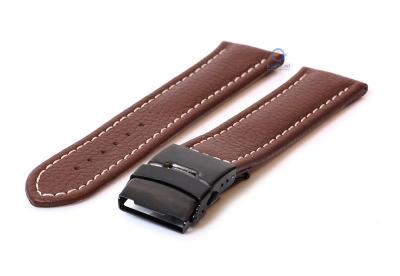 Gisoni Uhrenarmband 20mm braun Leder mit schwarze Faltschließe