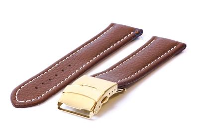 Gisoni Uhrenarmband 20mm braun Leder mit golden Faltschließe
