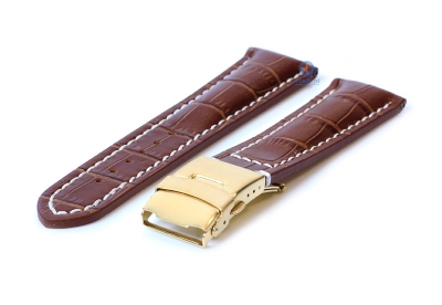 Gisoni Uhrenarmband 24mm kroko-braun Leder mit golden Faltschließe