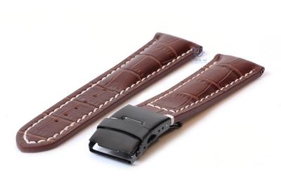 Gisoni Uhrenarmband 24mm kroko-braun Leder mit schwarze Faltschließe