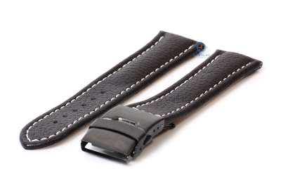 Gisoni Uhrenarmband 24mm schwarz Leder mit schwarze Faltschließe