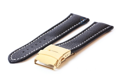 Gisoni Uhrenarmband 24mm schwarz Kalbsleder mit golden Faltschließe