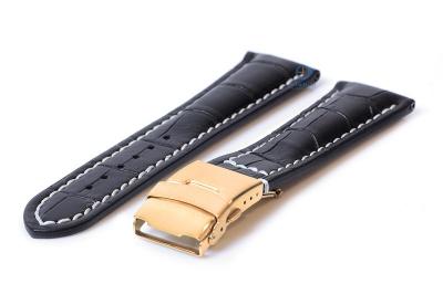 Gisoni Uhrenarmband 22mm Kroko-schwarz leder mit golden Faltschließe