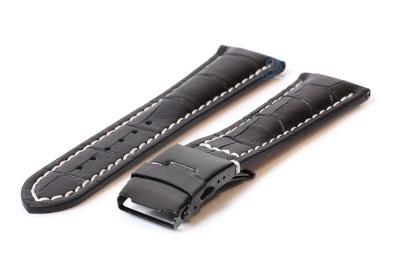Gisoni Uhrenarmband 22mm Kroko-schwarz leder mit schwarze Faltschließe
