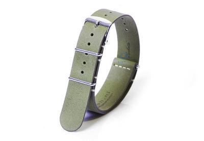 Uhrenarmband 20mm nato Leder kaki-grün