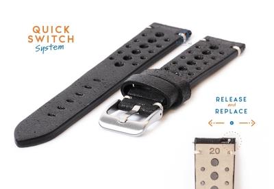 Premium uhrenarmband 20mm Racing-Look schwarz Leder