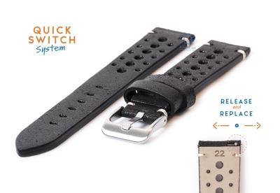 Premium uhrenarmband 22mm Racing-Look schwarz Leder