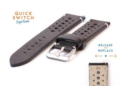 Premium uhrenarmband 24mm Racing-Look schwarz Leder