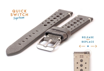 Premium uhrenarmband 22mm Racing-Look grau Leder