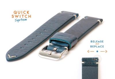 Premium uhrenarmband 22mm vintage-look blau Leder
