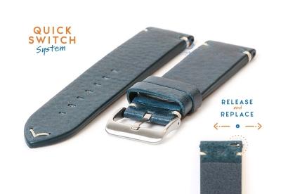 Premium uhrenarmband 24mm vintage-look blau Leder