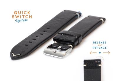Premium uhrenarmband 22mm vintage-look schwarz Leder