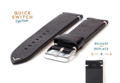 Premium uhrenarmband 24mm vintage-look schwarz Leder