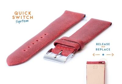 Uhrenarmband 20mm vintage rot Leder