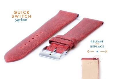 Uhrenarmband 22mm vintage rot Leder