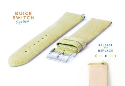 Uhrenarmband 22mm vintage grün Leder